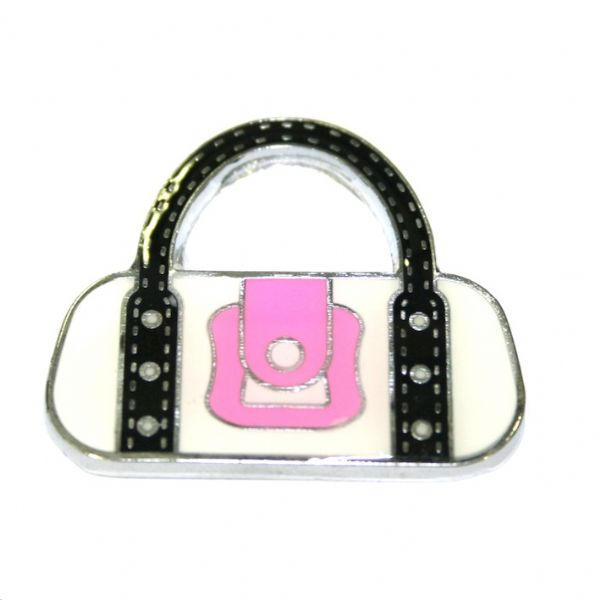 1pcex21*18mm Rhodium plated white handbag with pink buckle enamel charm - SD03 - CHE1104
